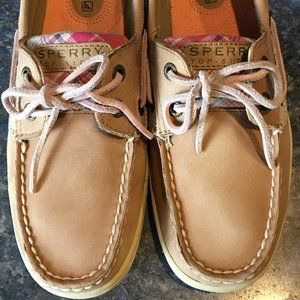 Sperry Tan Leather & Pink TOP SIDER BOAT SHOE 6.5